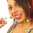 Royalty-Free Stock Photo: Beautiful girl with colorful necklace