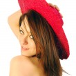 Beautiful girl with red hat — Stock Photo