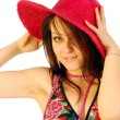 Foto Stock: Beautiful smiling girl with red hat