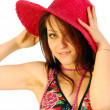Stock Photo: Beautiful smiling girl with red hat