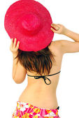Beautiful sexy girl with a red straw hat — Foto Stock