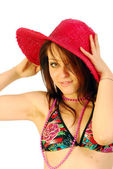 Beautiful smiling girl with red hat — Stock Photo