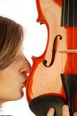 Mujer con violín — Foto de Stock