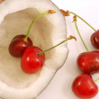 Heart of Cherry - Coconut and cherries — Stock Photo