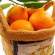 Small basket of mandarins — Stock Photo