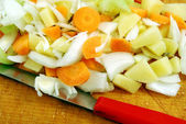 Preparation of vegetarian soup — Stock Photo