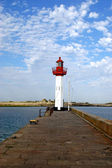 The pier and the lighthouses of Saint Vaast - Normandy - France — Stock Photo