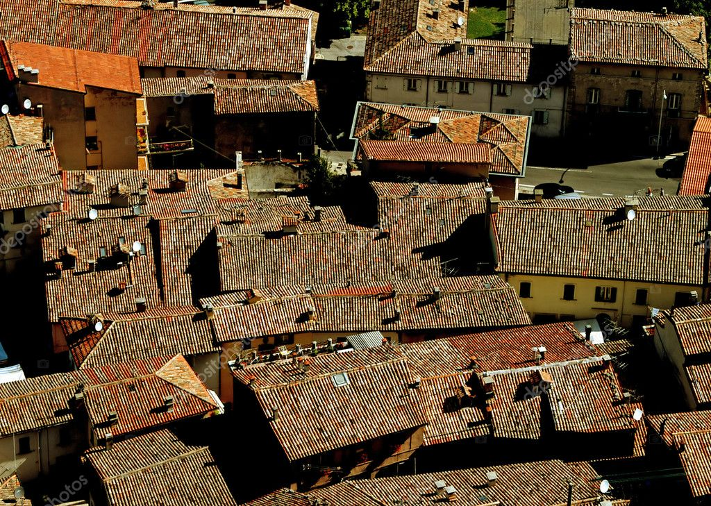 Intersection of roofs in San Marino, view of old town — Stock Photo #6061318