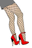 Legs and fishnet stockings — Stock Photo