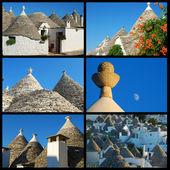 Collage of Trulli of Alberobello - Apulia - Italy — Stock Photo