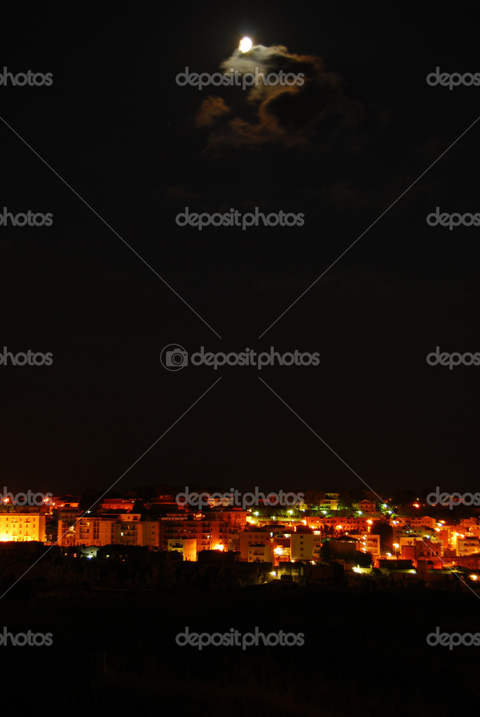 Overview of Matera city in the night  Stock Photo #6717392