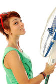 A girl smiling with his fan 2 — Stock Photo