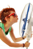 A love of fan (when it's hot) — Stock Photo