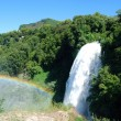 Marmore Falls with rainbow - Stock Photo