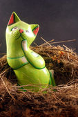 The cat in the nest — Stock Photo