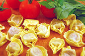 Tortellini stuffed with meat sauce — Stock Photo