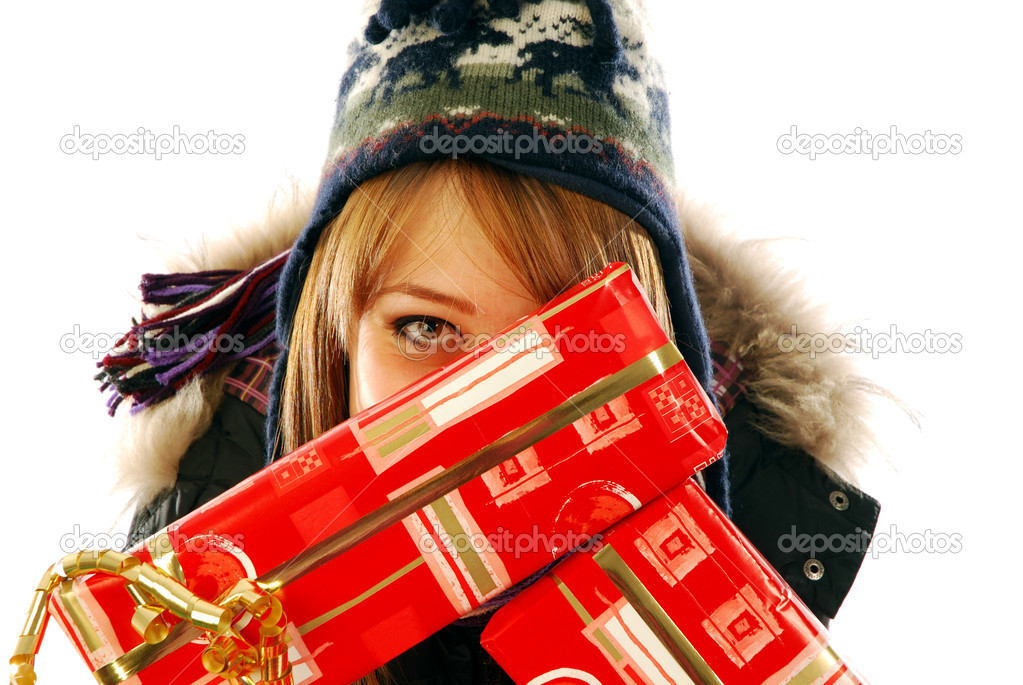 The happy look of a girl cash gifts — Stock Photo #6738480