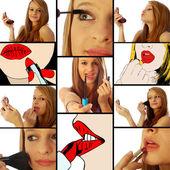 Garota que colocou maquiagem coleção 01 — Foto Stock