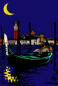 Gondola in San Marco by moonlight - Venice — Stock Photo