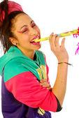 счастье – это труба карнавал — Стоковое фото