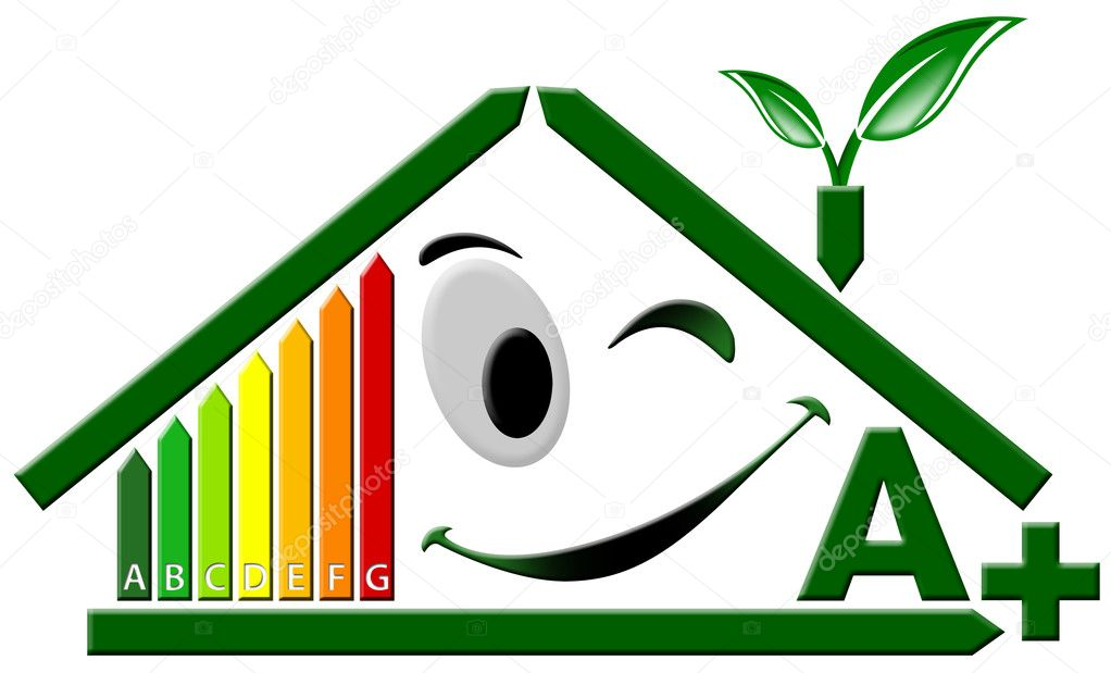 Green house stylized with certification electric output A — Stock Photo #5827585