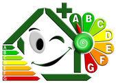 Energiecertificatie met bloem klok — Stockfoto