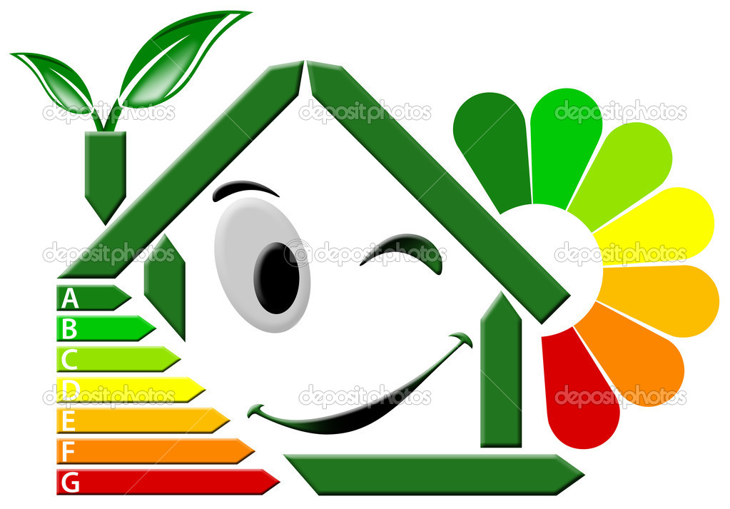 Green house stylized with certification electric output and flower — Stock Photo #5830821