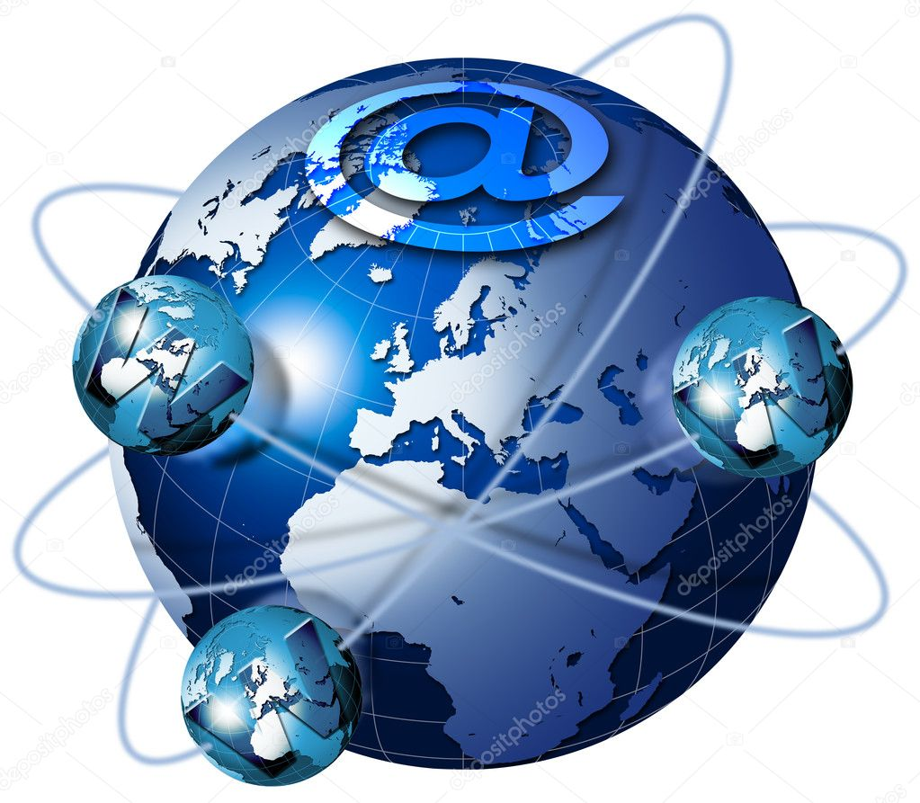 Illustration symbol www and internet with blue terrestrial globe and planets — Stock Photo #5830830