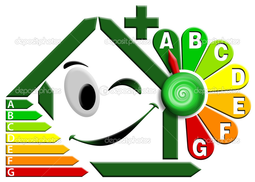 Green house stylized with certification electric output and flower clock — Stockfoto #5838209