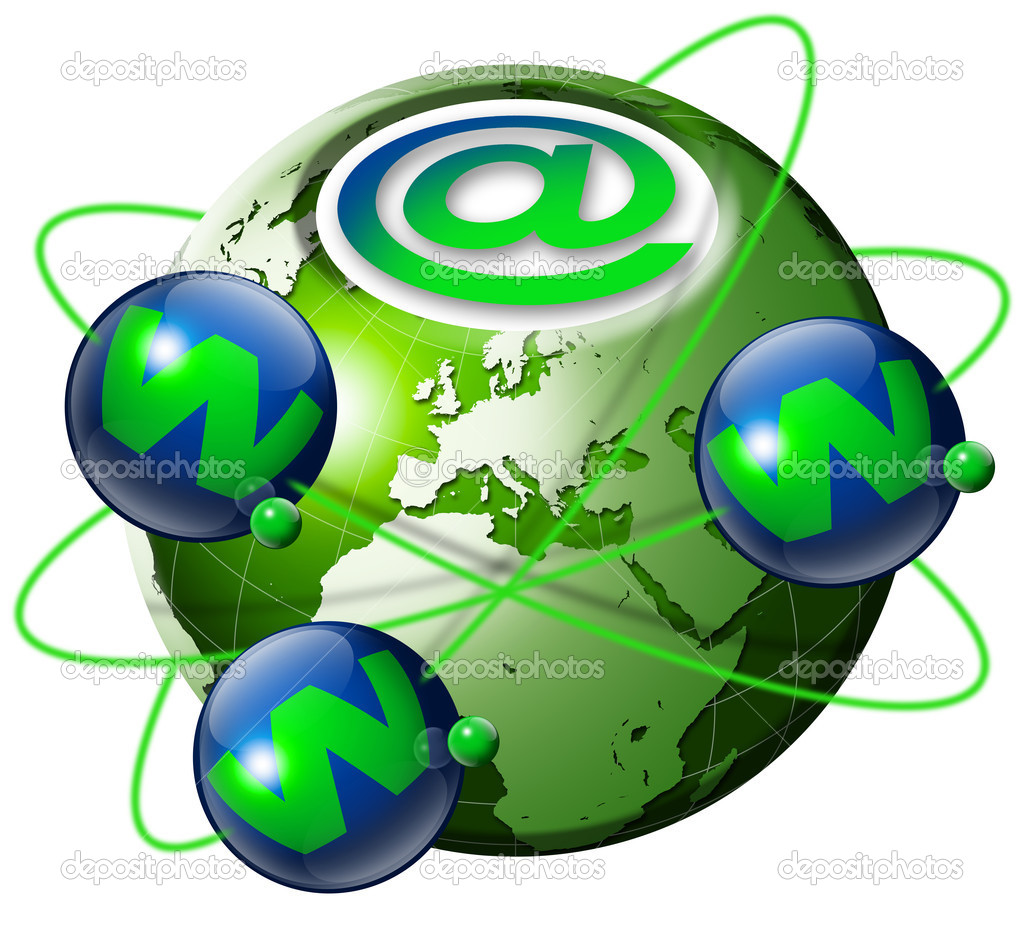 Illustration symbol www and internet with green terrestrial globe and 3 blue planets  Foto Stock #5867248