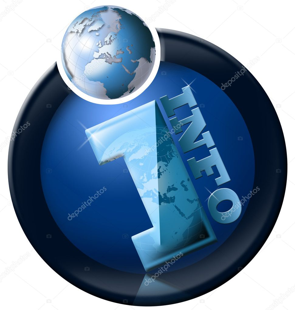 Icon information with blue terrestrial globe and written info — Stock Photo #5877605