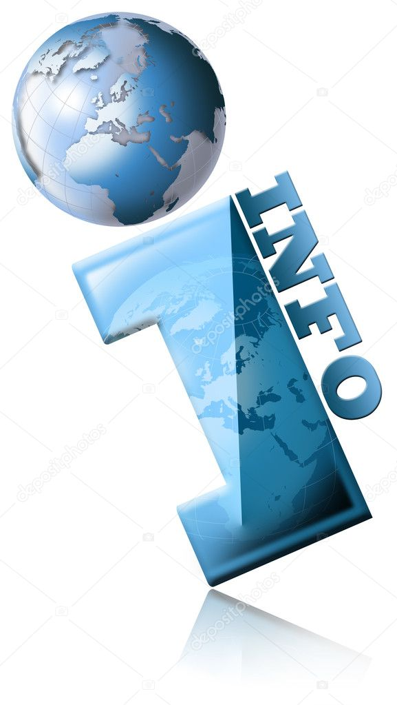 Blue globe symbol and information with written info — Stock Photo #5877613