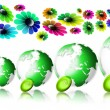 World ecology locomotive flowers — Stock Photo