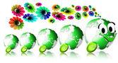 World ecology locomotive flowers — Stock Photo