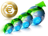 Locomotive Euro Business & Financial world positive — Stock Photo
