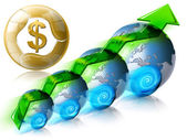 Locomotive dollar Business & Financial world positive — Stock Photo