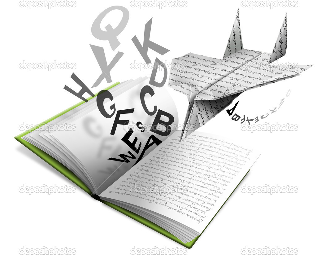 Book of Literature open with paper airplane and letters  Stock Photo #5964922