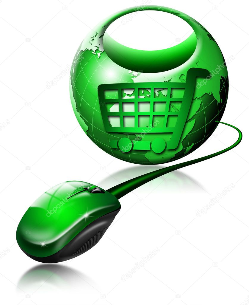 Mouse and globe shaped shopping bag, symbol of shopping — Stock Photo #5987071