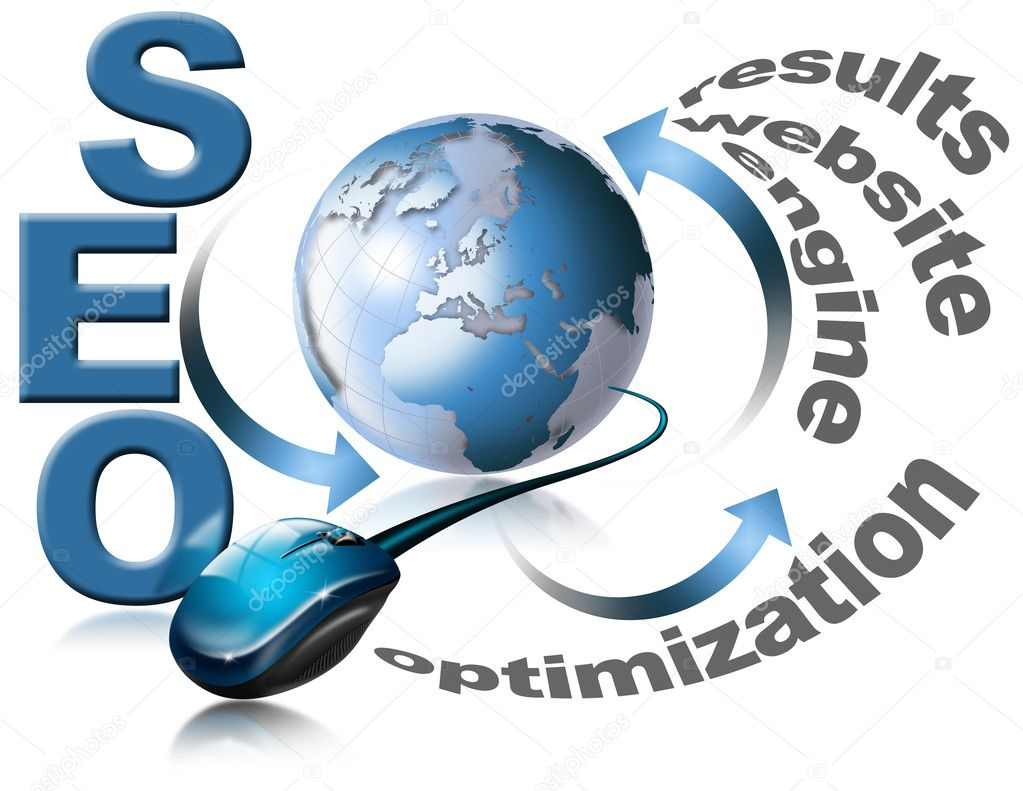 Illustration with globe, mouse and written SEO — Zdjęcie stockowe #5989174