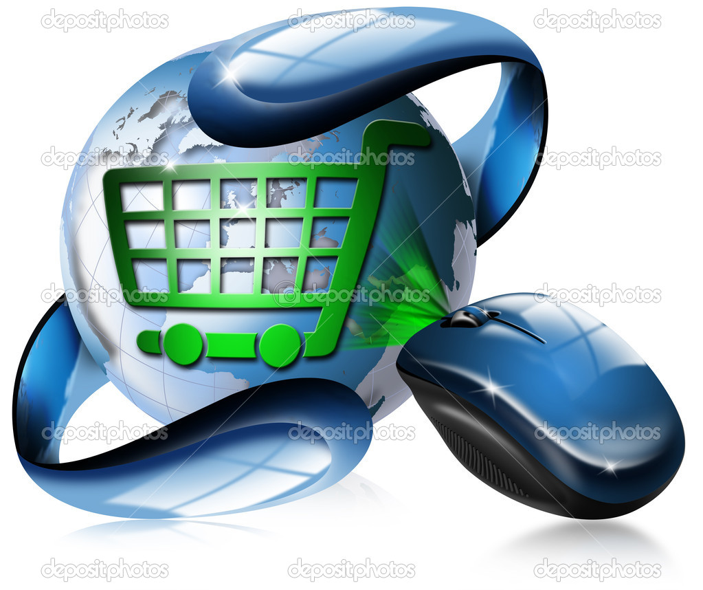 Mouse, globe and shopping cart — Stock Photo #6089249