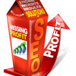 Carton SEO missing profit - Search engine optimization web - Stockfoto