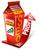 Carton SEO missing profit - Search engine optimization web — Stock Photo