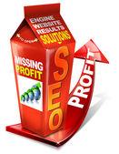 Karton seo ontbreekt winst - zoek zoekmachine optimalisatie web — Stockfoto