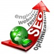 SEO positive red arrow - Stock Photo