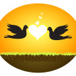 Doves In Love - Stock Vector