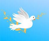 Vola colomba bianca con un ramo di — Vettoriale Stock