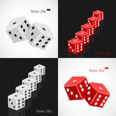 Set of 3D white and red dice vector illustration — Stock Vector
