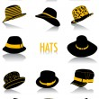 Hats silhouettes — Stock Vector