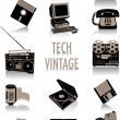 Tech-vintage silhouettes — Stock Vector