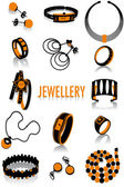 Jewellery silhouettes — Stock Vector